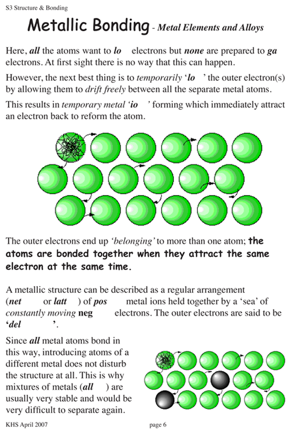 Metallic Bonding Worksheet - Bluegreenish